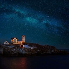 Night sky lighthouse