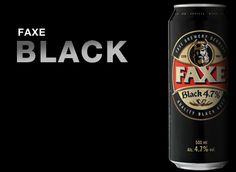 Cerveja FAXE BLACK 4,7%, estilo Schwarzbier, produzida por Faxe Bryggeri, Dinamarca. 4.7% ABV de álcool.