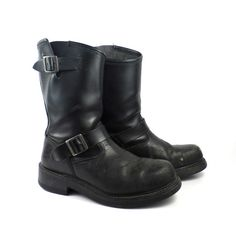 Engineer Boots Vintage 1990s Black Leather  by purevintageclothing