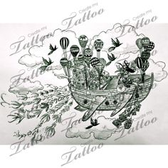 Flying solo on a boat with balloons | FLYING SOLO ON A BOAT WITH BALLOONS #94033 | CreateMyTattoo.com