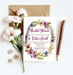 Bridal Shower Invitation, Bridal Invitation, Boho Bridal Invitation, Boho Bridal Shower, Floral Bridal Shower Invitation, Bridal Brunch