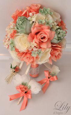 Amazon 17 pc wedding bouquet bridal silk flower coral teal wedding bouquet bridal bouquet bridesmaid bouquet silk flower wedding flower 17 mightylinksfo
