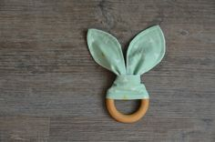 Wooden Teething Ring - Bunny Ears Mint Baby Teething Ring