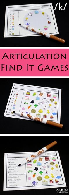 Articulation games for an easy no prep activity to add fun to your speech therapy. Practice producing the /k/ sound in all three positions with three levels of difficulty. Can also be used as a work task in your special education classroom!