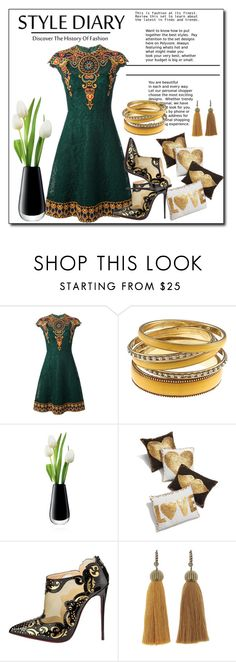 """""""Indian style dresses"""" by ainzme ❤ liked on Polyvore featuring Valentino, LSA International, Jonathan Adler, Christian Louboutin and Lanvin"""