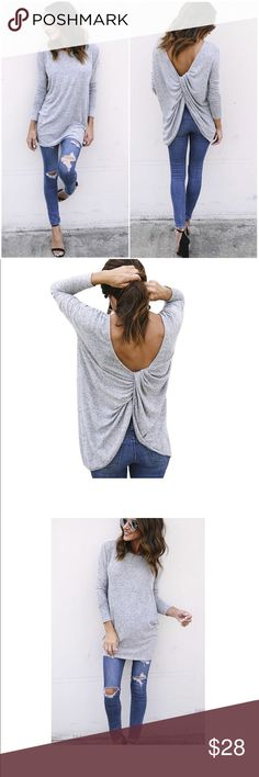 "Grey Open Back Knot Back Loose Top Brand New! Casual T Shirts, Long Sleeve, Round Neck, Quality Cotton Material, Stylish Knot Back Design. Breathable, Comfortable and Sexy to Wear, Perfect for Spring and Autumn. Material: 65%Cotton, 35%Polyester.                                                                   US M: Bust 126 CM/49.6""----Shoulder 136 CM/53.5""----Sleeve Length 42 CM/16.5""----Length 86 CM/33.9""       * US L: Bust 132 CM/52.0""----Shoulder 144 CM/56.7""----Sleeve Length 43…"