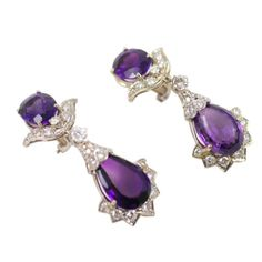Royal Purple Amethyst Diamond Earrings | From a unique collection of vintage dangle earrings at http://www.1stdibs.com/jewelry/earrings/dangle-earrings/