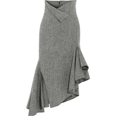 Monse Asymmetric herringbone wool midi skirt (28.295 CZK) ❤ liked on Polyvore featuring skirts, fold-over skirts, asymmetrical pencil skirt, calf length pencil skirts, midi skirt and asymmetric midi skirt