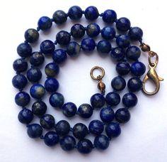 Lapis Lazuli Necklace Beaded Necklace Blue Necklace Stone