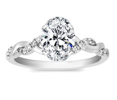 Oval Diamond Petite twisted pave band Engagement Ring