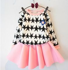 73a6c25e1 Children set clothes new autumn star long sleeve t shirt+Fluorescent color  skirt 2pcs girl clothing set
