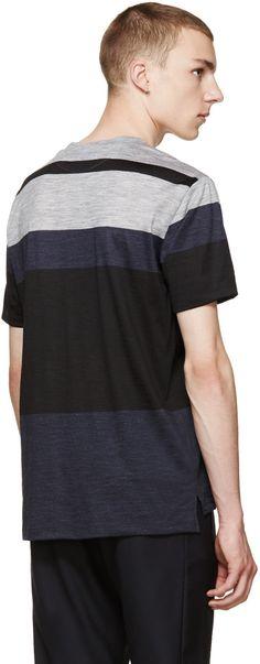 Paul Smith Navy & Grey Colorblock T-Shirt