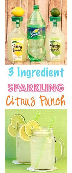Citrus Punch Recipe!  Just 3 ingredients!!  Add a splash of summer to any party with this EASY punch - perfect for your upcoming parties and showers! | TheFrugalGirls.com