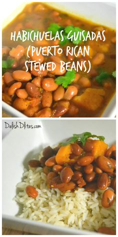 Habichuelas guisadas are the quintessential Puerto Rican side dish. Serve with rice or as a standalone meal! http://delishdlites.com/latin-recipes/habichuelas-guisadas-puerto-rican-stewed-beans-recipe/