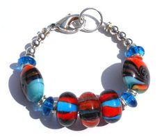 Turquoise Blue and Orange Glass Lampwork Bracelet by GodivaJewels, $12.00