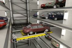 Multilevel Car Parking - Multiparker 750 offers parking places in a concrete structure without steel pallets and in up to 30 levels high. Portable Solar Panels, Automatic Cars, Kenworth Trucks, Concrete Structure, Game Room Decor, Car Storage, Garage Design, Dream House Plans, Urban Planning