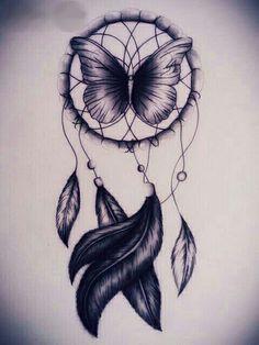 Butterfly Dream Catcher tatoo with added color Trendy Tattoos, New Tattoos, Body Art Tattoos, Thigh Tattoos, Tatoos, Atrapasueños Tattoo, Tattoo Drawings, Tattoo Bird, Tattoo Feather