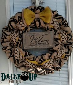 Burlap Wreath - Black and Natural Chevron- Yellow Wreath - Home Decor - Front Door Wreath - Summer Wreath - Everyday Wreath