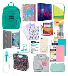 """""""Back to school"""" by kaitwadsworth on Polyvore featuring Lilly Pulitzer, Avery, JanSport, Paper Mate, Logitech, Dye Ties, Kate Spade, Bombay Duck and Happy Plugs"""
