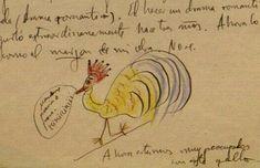 """Dibujo de García Lorca. Fundó la revista literaria """"Gallo"""", de la que solo se publicaron dos números."""