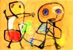 """""""Personages"""" door Karel Appel uit 1950. Dit werk doet direct denken aan een kindertekening. Om als kunstenaar creatief te zijn, moet je vrij zijn van alle maatschappelijke ballast en om je heen kijken als een spontaan, onbevangen kind. Appel maakt gebruik van kenmerkende materialen, kleuren en lijnvoering. Met zwart krijt heeft hij eerst een schets gemaakt, daarna twee figuren met zwarte verf neergezet en vervolgens de kleuren toegevoegd. De inhoud is veel meer abstract."""