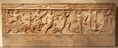 lionofchaeronea:Dionysus and his bride Ariadne are led in procession by Eros, Pan, satyrs and maenads.  Relief from a grave slab, unknown Roman artist, 110-130 CE.  Found near the Via Appia, Rome; now in the Altes Museum, Berlin.