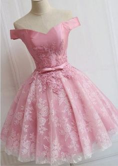 Short A-line/Princess Prom Dresses, Pink Sleeveless With Bowknot Mini Homecoming Dresses by dresses, $144.32 USD