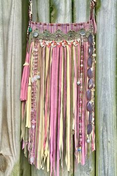 Handmade pink & olive Tapestry & Suede Leather Fringe Purse Boho Gypsy Bag B.Joy  | eBay