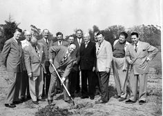 Groundbreaking ceremony of the San Fernando Valley Boy Scout Council building, circa 1940. Included in photograph are Don Frew, H.S. Nicholson, Paul Palmer, Bob Hill, W.P. Whitsett, J. Leo Flynn, John Triplett, Thomas Carrell, and Dr. Ed. Sudlow. The invocation was read by Rev. M.W. Wolf of Chatsworth Community Church.  Senator Thomas C. Carrell Collection. San Fernando Valley History Digital Library.