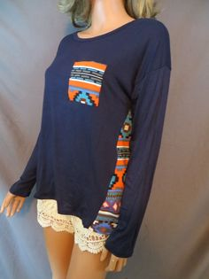 COWGIRL Western NAVY Jersey Gypsy Tribal AZTEC BOHO Top Shirt  Small #pronto #shirt