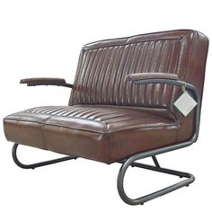Pullman 2 seater leather bench with armrest and metal round frame