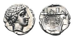 Macedon, Chalkidian League AR Tetrobol. Olynthos, circa 383/382 BC. Laureate head of Apollo to right / ΧΑΛΚΙΔΕΩΝ Kithara with seven strings; all within very shallow incuse square.