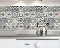 Traditionnel bleu espagnol céramique autocollant / bleu et blanc dosseret temporaire murale Stickers / Autocollants PVC amovible rénover meubles