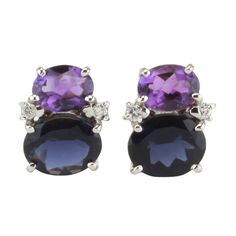 Mini GUM DROP™ Earrings with Amethyst and Iolite and Diamonds 1