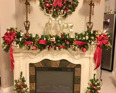 Black Friday Set of Christmas Red Velvet Wreath GarlandExquisite Christmas Wreath, Garland & Topiaries by TylerInteriorsAwesome Fireplace Christmas Decoration To Makes Your Home Keep Warm thoughts come to your mind when you think of holiday de Indoor Christmas Decorations, Christmas Mantels, Christmas Centerpieces, Simple Christmas, Christmas Home, Christmas Wreaths, Christmas Crafts, Christmas Holidays, Red And Gold Christmas Tree