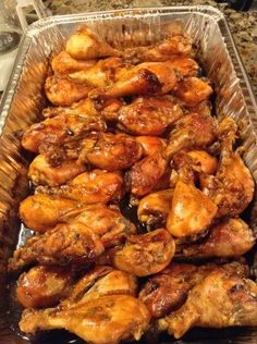 """Caramelized Baked Chicken Legs Wings (Another pinner wrote: """"…used maple syrup instead of honey. baked at 400 x 30 minutes then reduced to 325 for 15 min or so."""") More from my site Spicy Hot Chicken Legs Chicken Drumstick Recipes, Baked Chicken Recipes, Meat Recipes, Crockpot Recipes, Dinner Recipes, Cooking Recipes, Recipes For Chicken Legs, Dinner Ideas, Baked Chicken"""