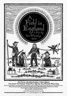 poster by Richard Wells graphic design. Rook Films Ltd: A Field In England Woodcut poster Horror Movie Posters, Horror Movies, Samhain, A Field In England, Julian Barratt, Great Films, Cool Posters, Graphic Posters, Cinema