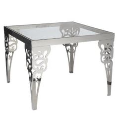 Lazy Susan Square Paisley Steel Accent Table with Glass Top