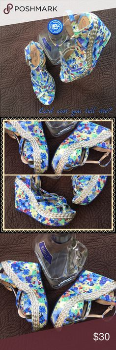 """HPFloral Wedge Sandals  Host Pick Casual Friday June, 10, 2016Dance the night away with Los Lonely Boys blaring.  Comfy, gently used Mary Jane strap wedge sandals.  You'll be set for summer with the T strap style, woven detailing, and synthetic sole.   2"""" double platform, 4 3/4"""" wedge heel so snappy with jeans, shirts, beachwear, dresses, multifaceted sandals. Don't let them pass you by. Poetic License Shoes Sandals"""