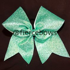 Aqua Glitter Cheer Bow by MyFierceBows on Etsy
