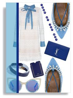 """Look of the day"" by thestrawberryfields ❤ liked on Polyvore featuring Topshop, Tory Burch, Aquazzura, Yves Saint Laurent, Valentino, denim, Blue, lookoftheday and embroidery"