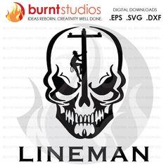 Digital File, Lineman, Linemen, Power, Climbing Hooks, Spikes, Gaffs, Skull,  Shirt Design, Decal Design, Svg, Png, Dxf, Eps file by BurntStudios on Etsy https://www.etsy.com/listing/491109451/digital-file-lineman-linemen-power