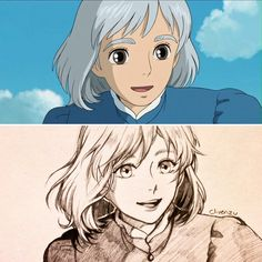 Screenshot redraw of Sophie ✨ . I love this movie so much and all of Ghibli's other creations ; it's a shame that it wasn't part of my childhood. But on a brighter note I'm glad that they'll be releasing another movie! Howl's Moving Castle, Studio Ghibli Art, Studio Ghibli Movies, Film Anime, Anime Art, Totoro, Miyazaki Film, Howl And Sophie, Anime Kunst