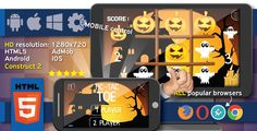 Halloween TicTacToe - HTML5 game + mobile. Construct2 (.capx) + Cocoon ADS . Halloween has features such as High Resolution: Yes, Compatible Browsers: IE9, IE10, IE11, Firefox, Safari, Opera, Chrome, Edge, Software Version: HTML5, Construct 2, Other