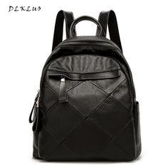 df715cbe8b54 DLKLUO Genuine Leather Women Backpack soft sheepskin waterproof bags for Teenage  Girls schoolbag Mochila black large Travel bags