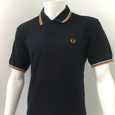 Fred Perry Mens medium 40 Polo Shirt Navy white Orange Mod Vintage casuals £75 | eBay