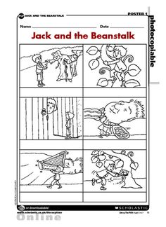 Cut out these 'Jack and the Beanstalk' pictures, compose sentences for them and use them for sequencing or storytelling activities. Fairy Tale Activities, Rhyming Activities, Book Activities, Sequencing Pictures, Story Sequencing, Sequencing Cards, Traditional Tales, Traditional Stories, Fairy Tale Theme