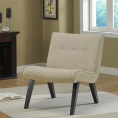 Armless Tufted Chair Sand | Overstock.com