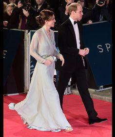 The Duke and Duchess of Cambridge 10.26.15 Kate wearing Jenny Packham