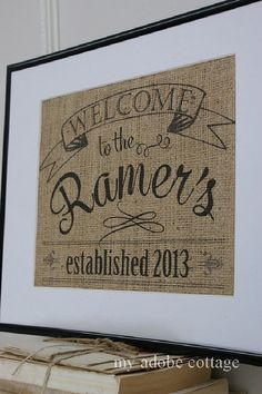 Burlap Housewarming & Welcome Home Print...Unique Gift...wedding gift, anniversary gift, Christmas gift, too! on Etsy, $22.60 AUD
